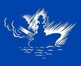 Warship — Stock Vector