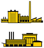 Two factories on white background — Stock Vector