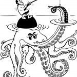 Fishman catching octopus — Stock Vector #6305282