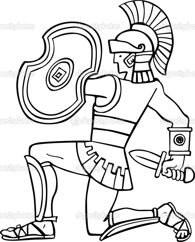 Greek Warrior Coloring Pages Gladiator Warrior Character Or