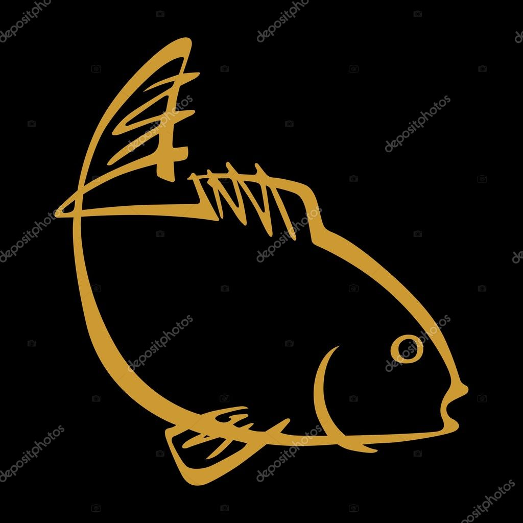 Vector fish on black background  Stock Vector #6374183