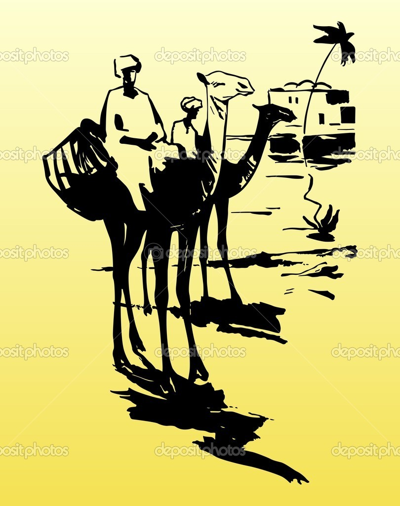 Camels and bedouins in the desert on yellow — Stock Vector #6737304