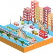Stock Vector: 3D city