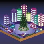 3D Christmas city — Stock Vector