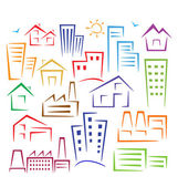 Different types of houses — Stock Vector