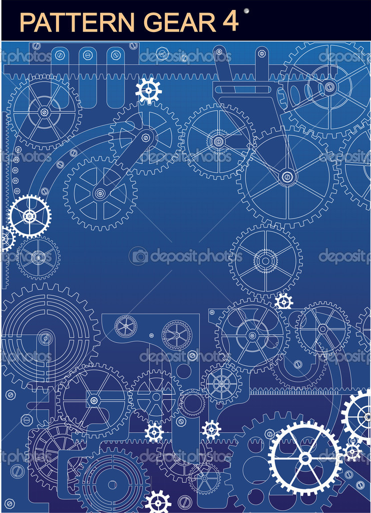 Mechanism of white  on a  blue background — Stock Vector #5672460