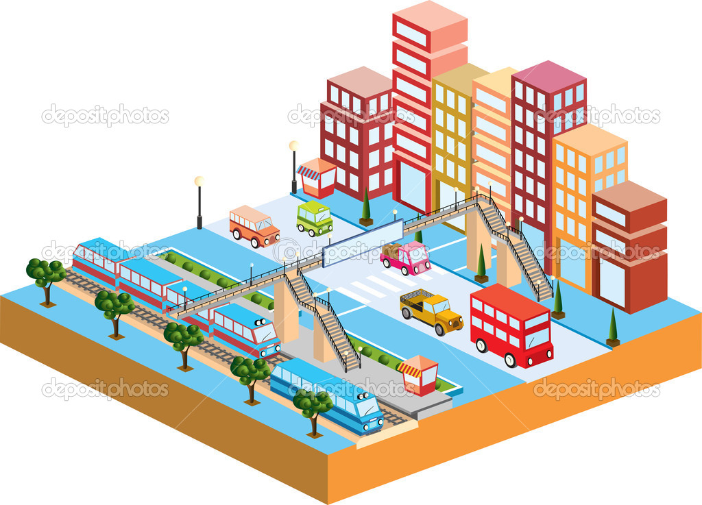 3D city with  transport and buildings — Stock Vector #5672754