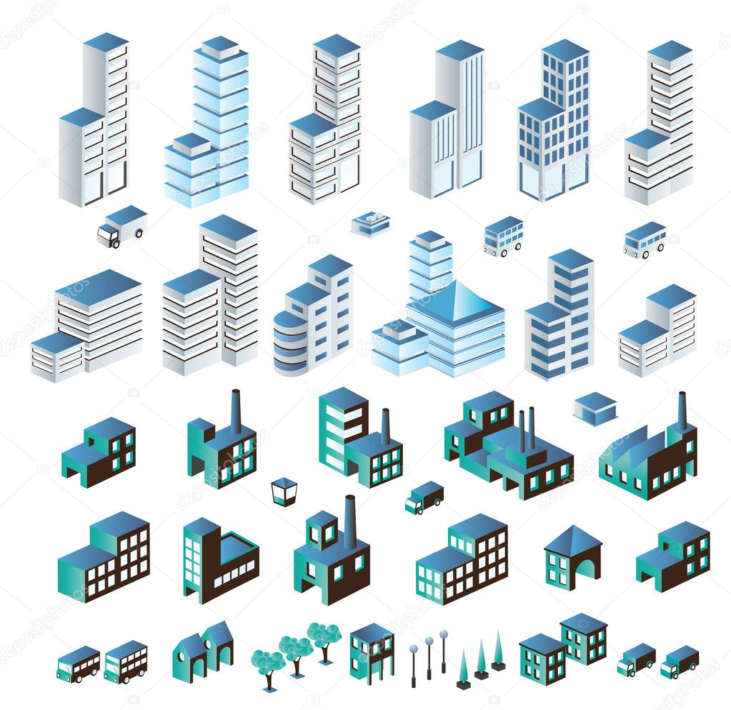 A set of urban and industrial buildings in the isometric — Stock Vector #5675124