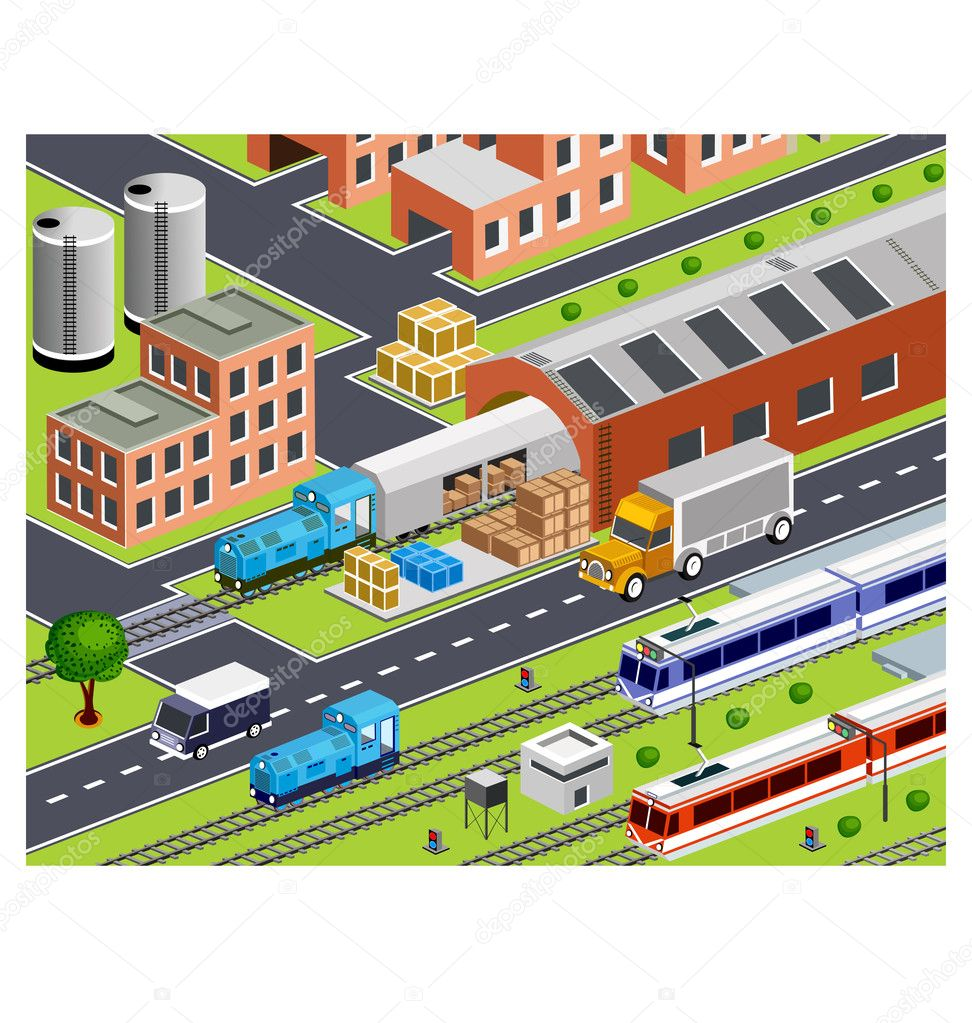 3D station with all buildings and transport — Stock Vector #5675826