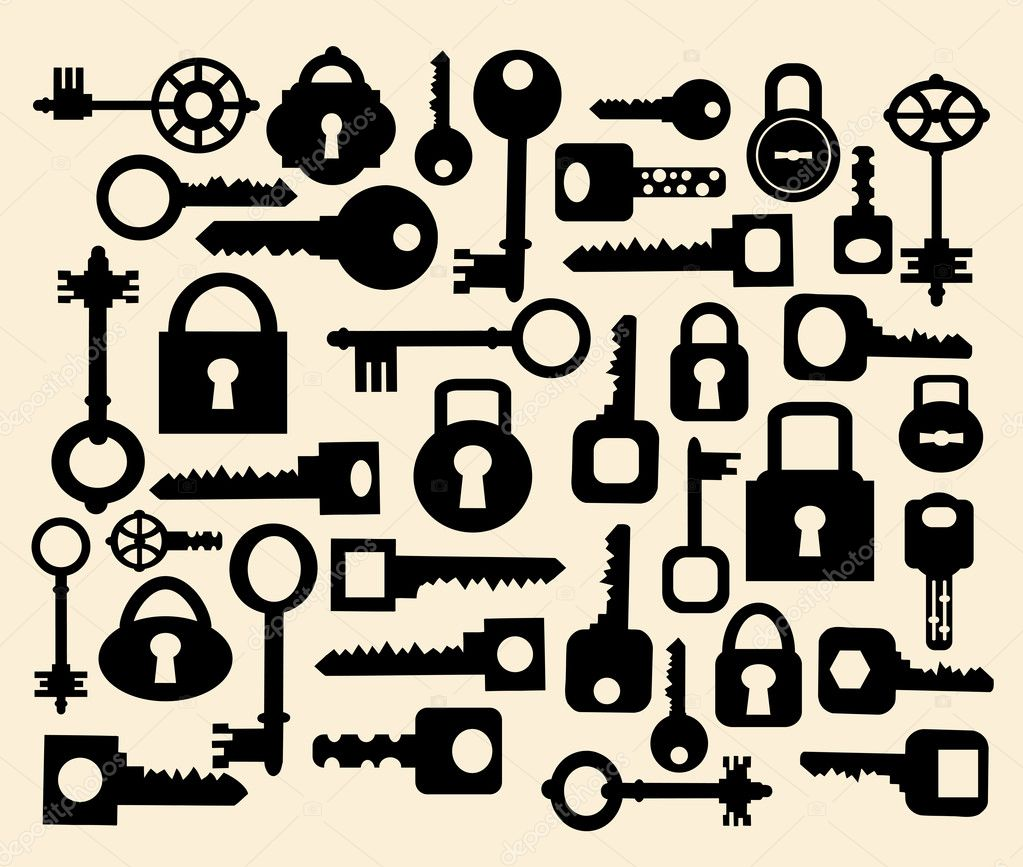 Silhouettes set of keys and locks on a yellow  Stock Vector #5676216