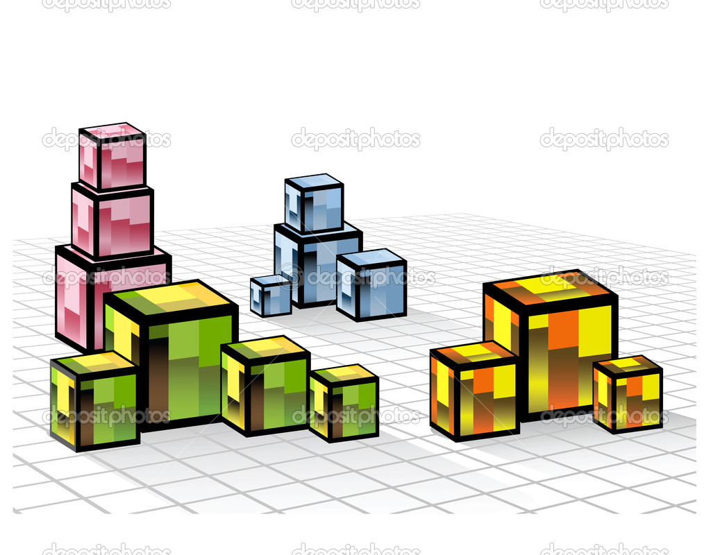 Abstract composition of a set of colored cubes — Stock Vector #5676237
