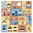 Urban facilities and - Stock Vector