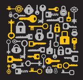 Chiavi e serrature su un nero — Vettoriale Stock