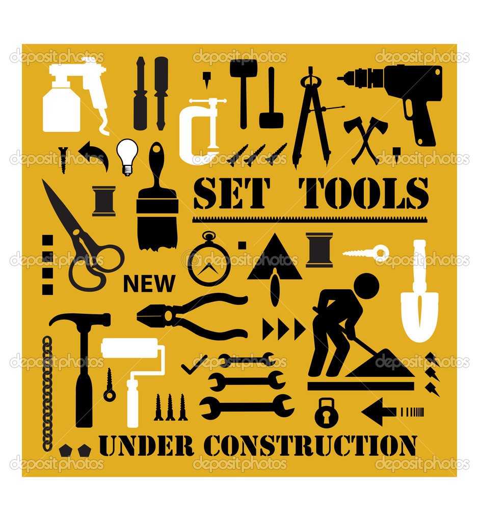 A set of tools silhouettes in black on a yellow background and black — Stock Vector #6725941