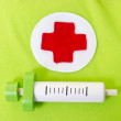 Syringe and Red Cross — Stock Photo
