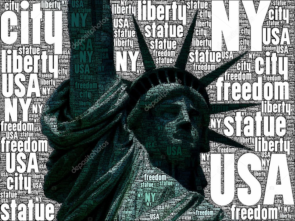 Statue of the freedom with american flag — Stock Photo #5885716