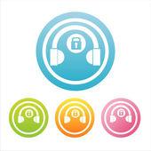 Barevná sluchátka značky — Stock vektor