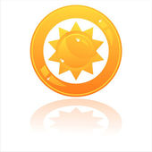 Sun button isolated on white — 图库矢量图片