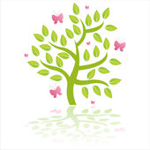 Green tree with butterflies — Stock Vector