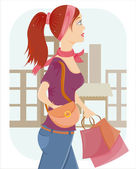 Shopping girl with a lot of bags — Stock Vector