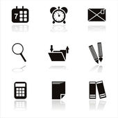 Black office tools icons — Stock Vector