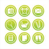 Segni di strumenti ufficio verde — Vettoriale Stock