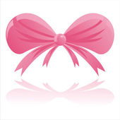 Pink bow isolated on white — Stock Vector