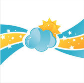 Cloud with sun background — Stock Vector