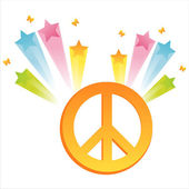 Peace sign with star splash — Stock Vector