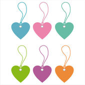 Colorful hearts tags — Vettoriale Stock
