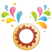 Donut with colorful splash — Stock Vector