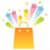 Shopping bag with star splash — Stock Vector