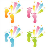 Colorful foot steps — Stock Vector