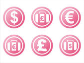 Pink finance signs — Stock Vector