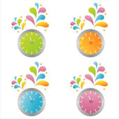 Colorful clocks — Stock Vector