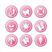 Pink beach signs — Stock Vector
