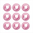 Pink document signs - Stock Vector