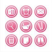Pink office tools signs — Stock Vector