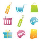 Icônes commerçantes brillants — Vecteur