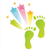 Foot steps with star splash — Cтоковый вектор