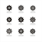 Black flower icons — Stock Vector