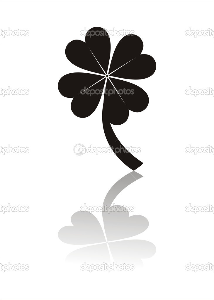 Clover silhouette isolated on white — Stock Vector #5699897