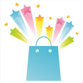 Shopping bag with star splash — Vettoriale Stock