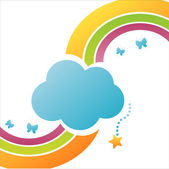 Cloud background with rainbow — Stock Vector