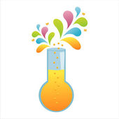 Chemical bottle with colorful splash — Stockvector