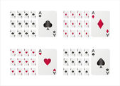 Playing cards isolated on white — Stock Vector