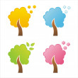 Seasonal tree icons - Stock Vector