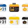 Halloween calendar icons — Stock Vector