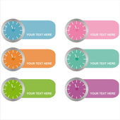Colorful clocks frames — Stock Vector