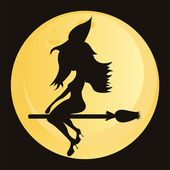 Witch over moon — Stockvektor